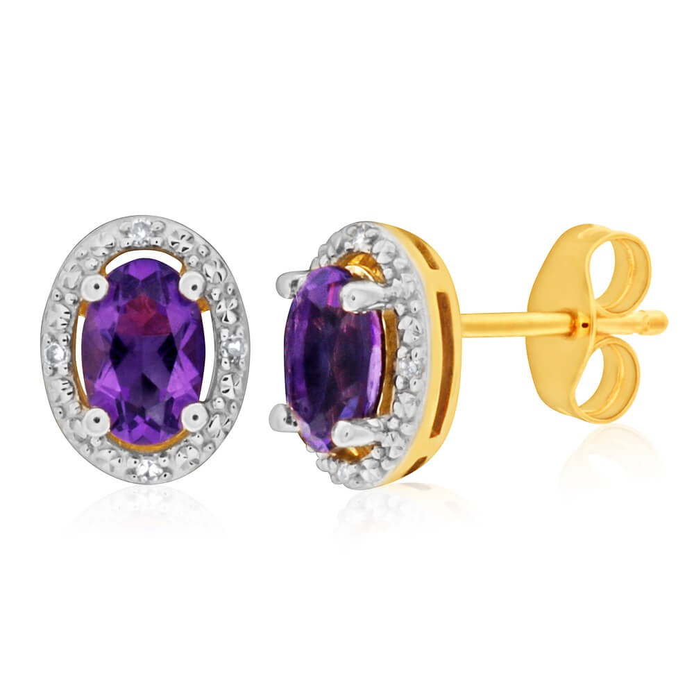 9ct Yellow Gold Amethyst + Diamond Stud Earrings