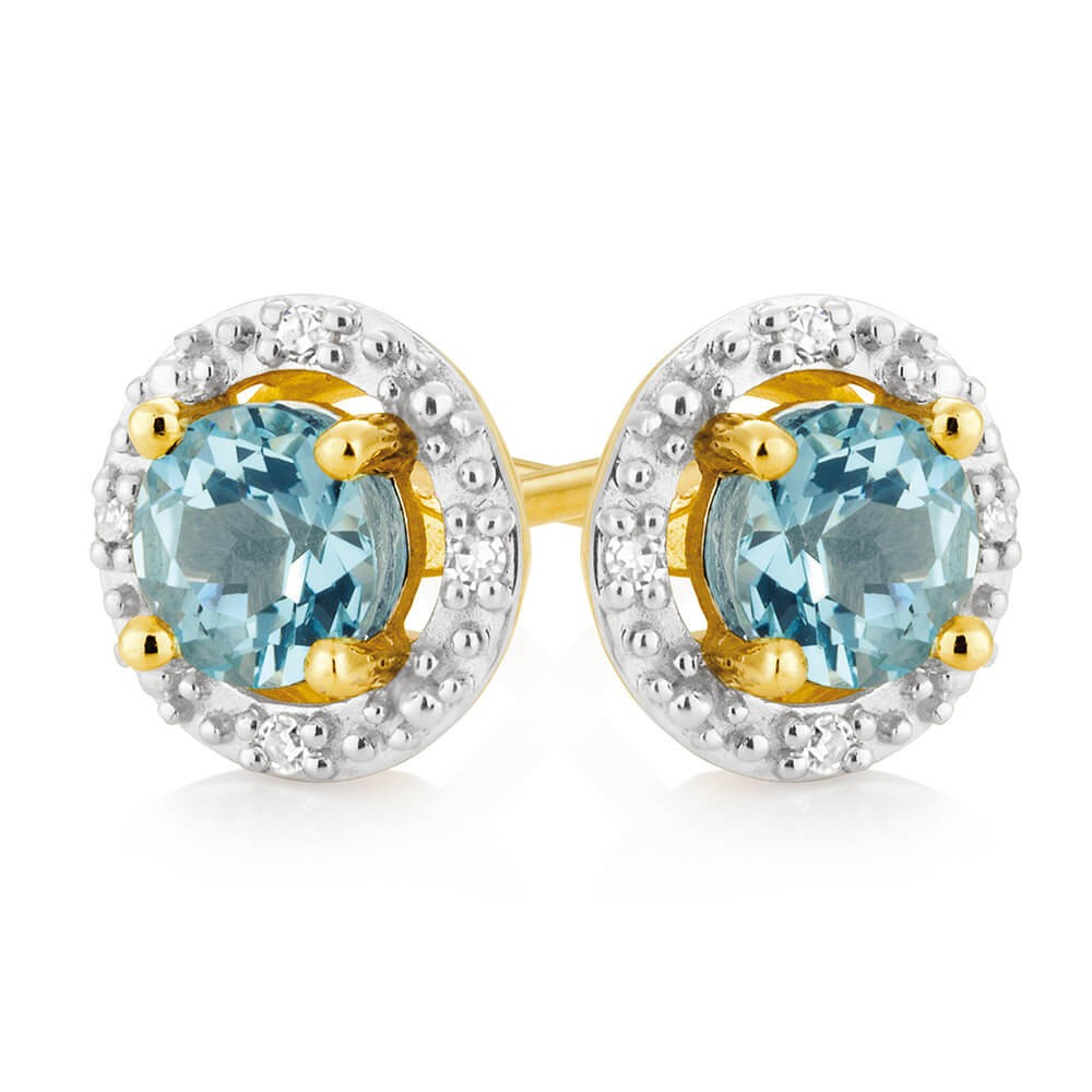 9ct Yellow Gold Aquamarine + Diamond Stud Earrings