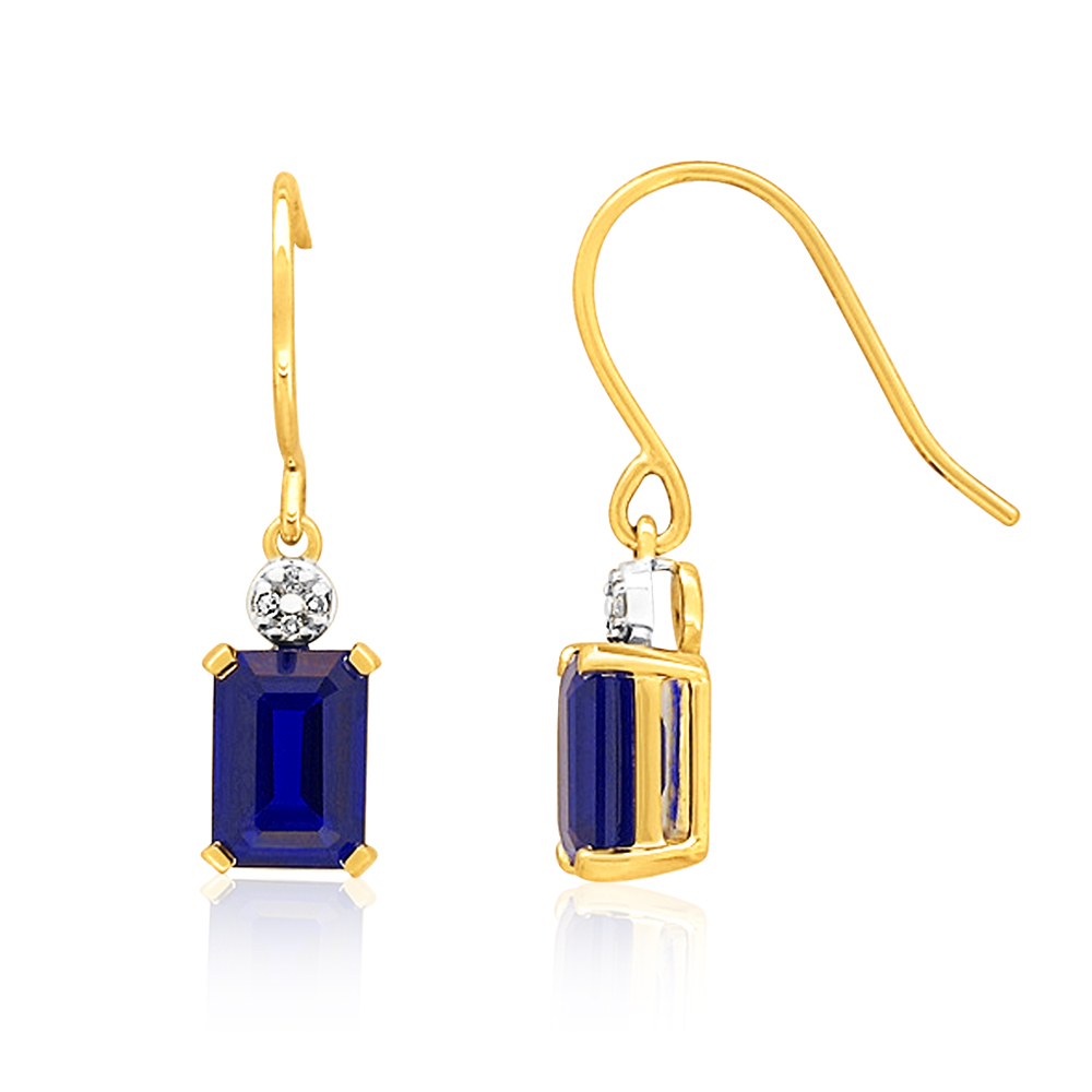 9ct Yellow Gold 7x5mm Created Sapphire Drop Earrings with Diamonds