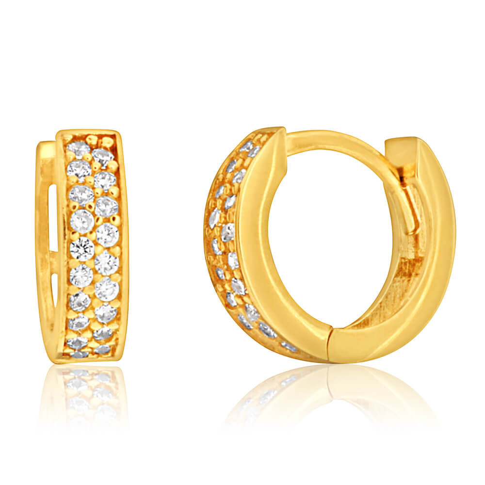 9ct Yellow Gold 8mm Cubic Zirconia Pave Huggie Earrings