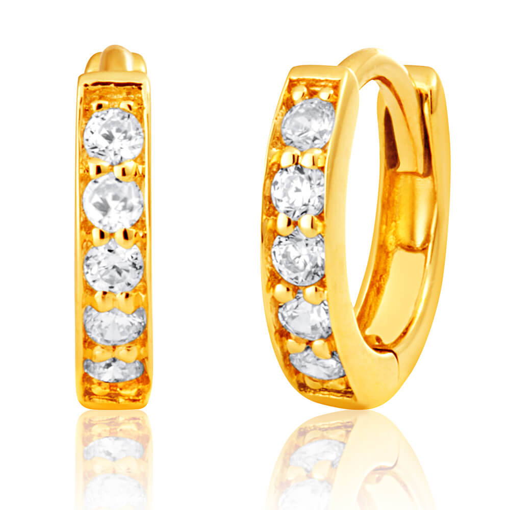 9ct Yellow Gold Cubic Zirconia 10mm Huggie Earrings