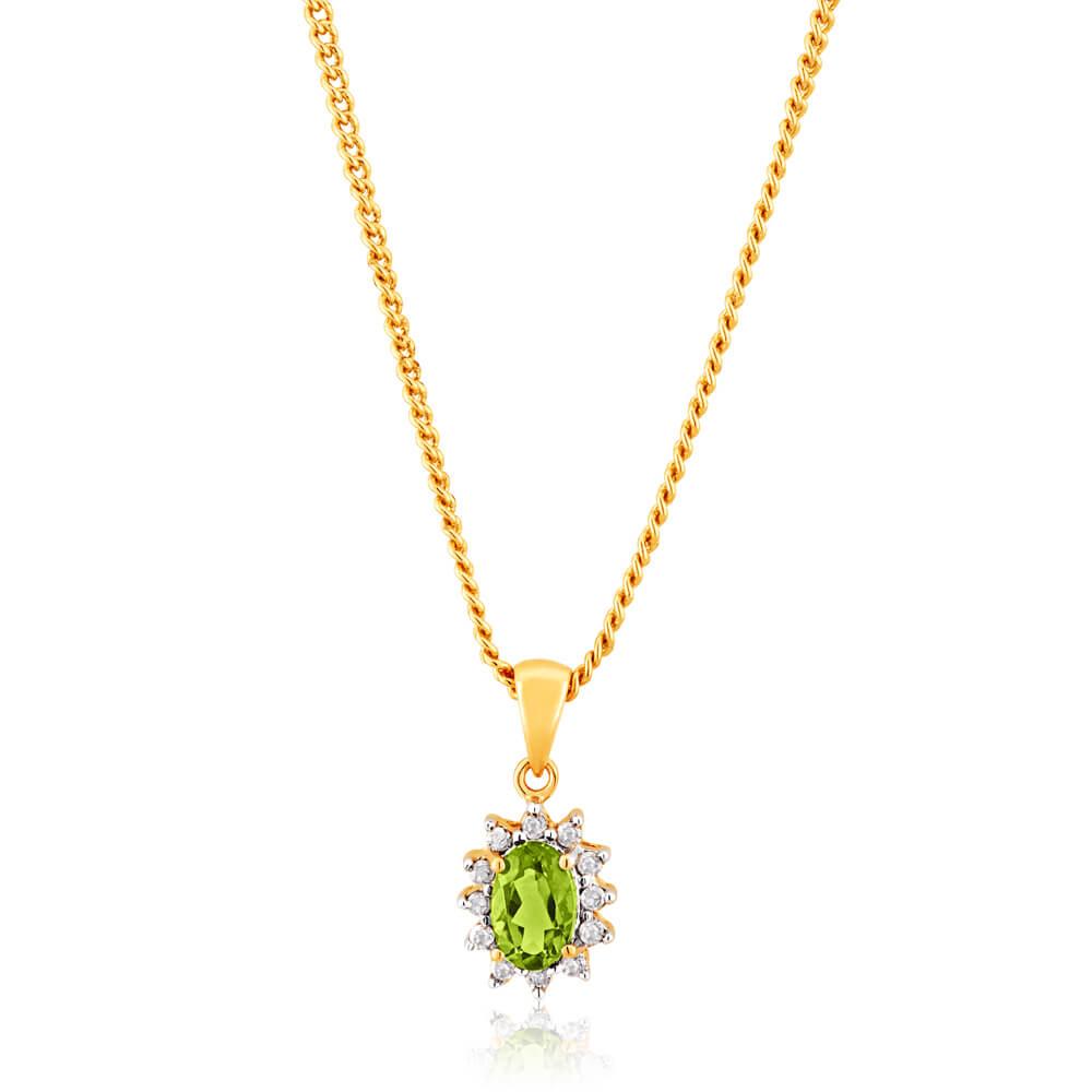9ct Yellow Gold Diamond and Peridot Pendant
