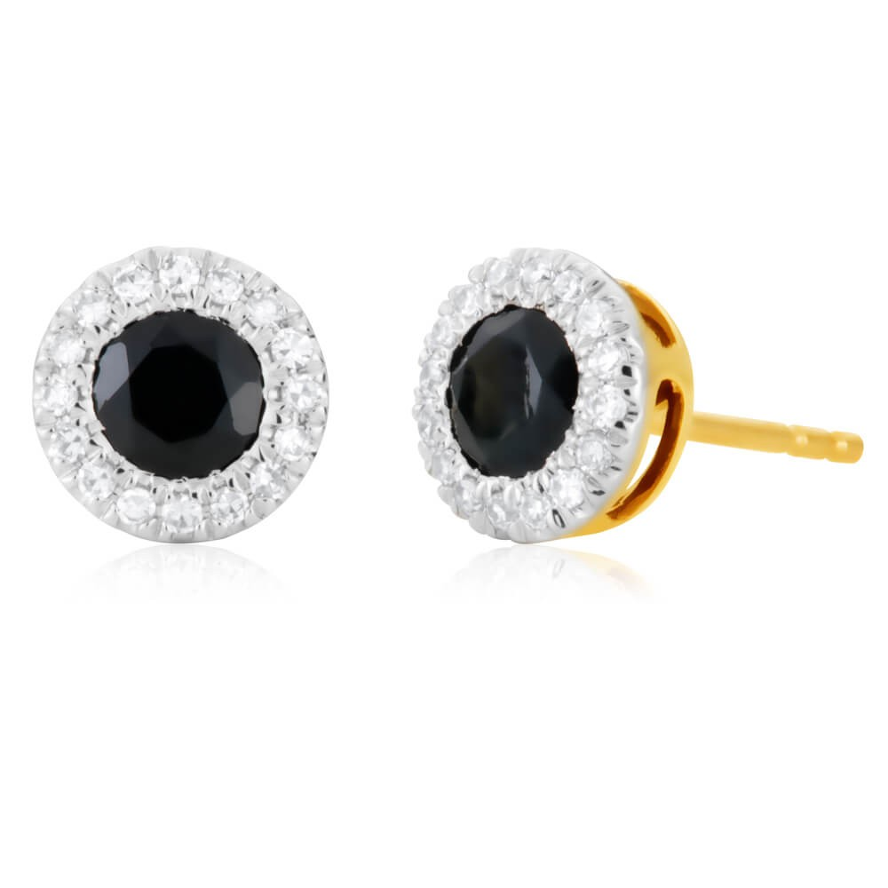 9ct Yellow Gold Natural Black Sapphire and Diamond Stud Earrings