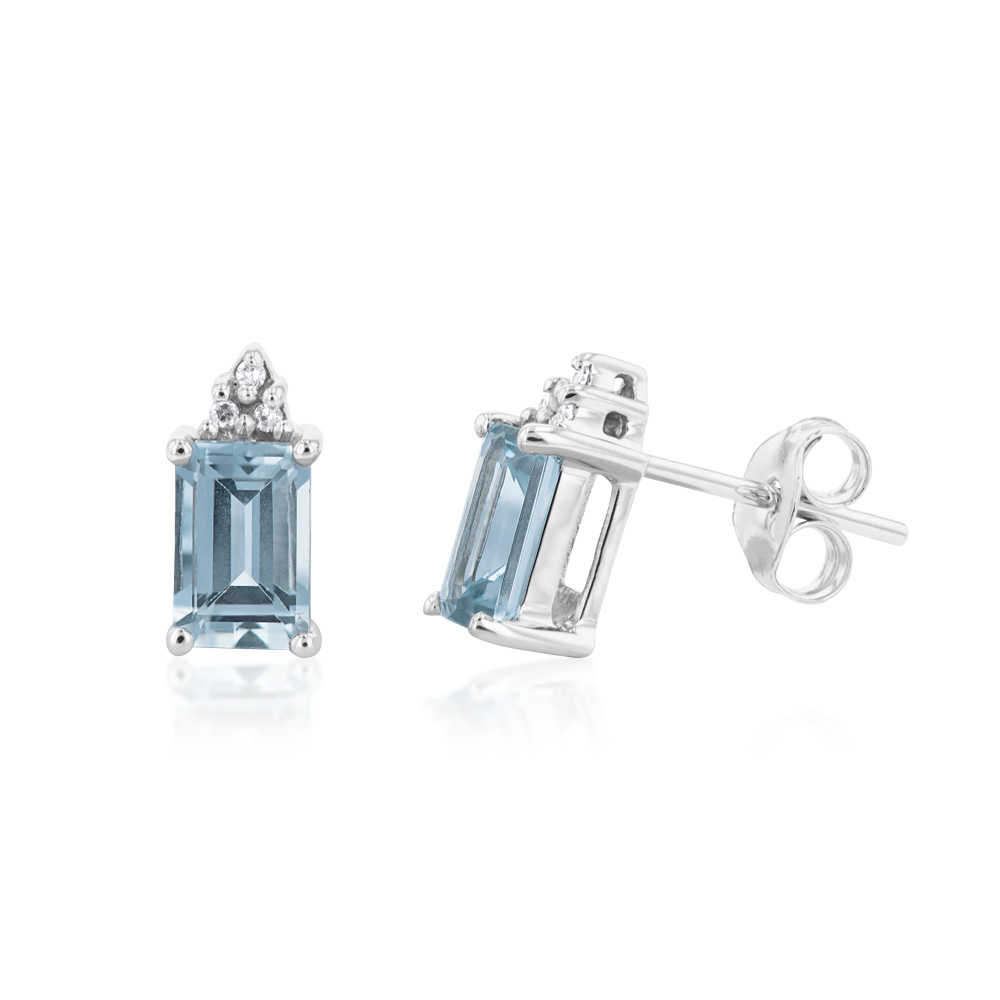 9ct White Gold Aquamarine Emerald Cut and Diamond Stud Earrings