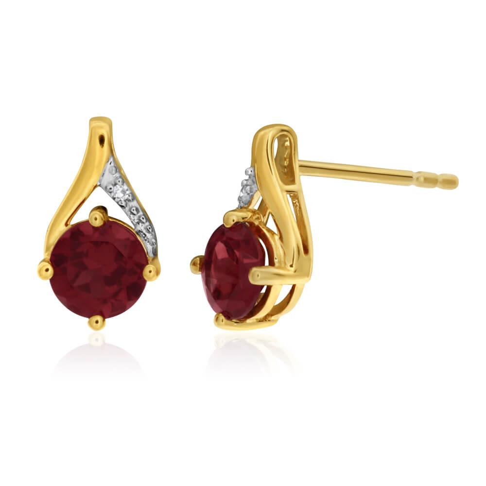 9ct Yellow Gold Garnet and Diamond Stud Earrings