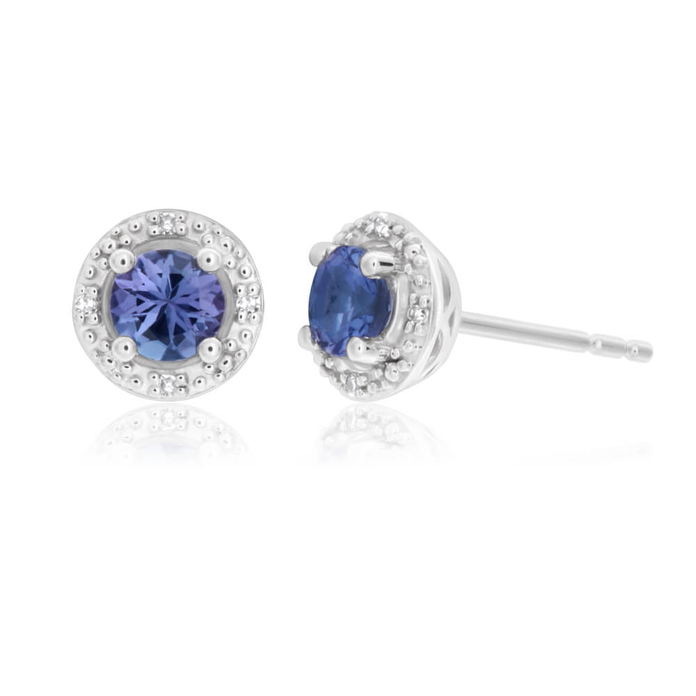 9ct White Gold Tanzanite and Diamond Stud Earrings