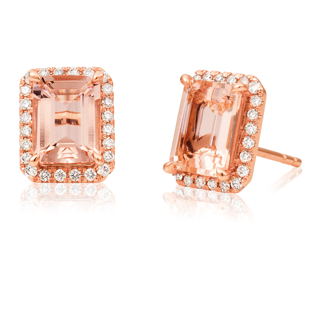9ct Rose Gold Morganite Emerald Cut 8x6mm and Diamond 0.26ct Earrings