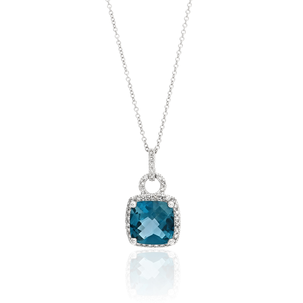 9ct White Gold London Blue Topaz 8mm Cushion Cut Pendant Chain with 0.16ct Diamonds