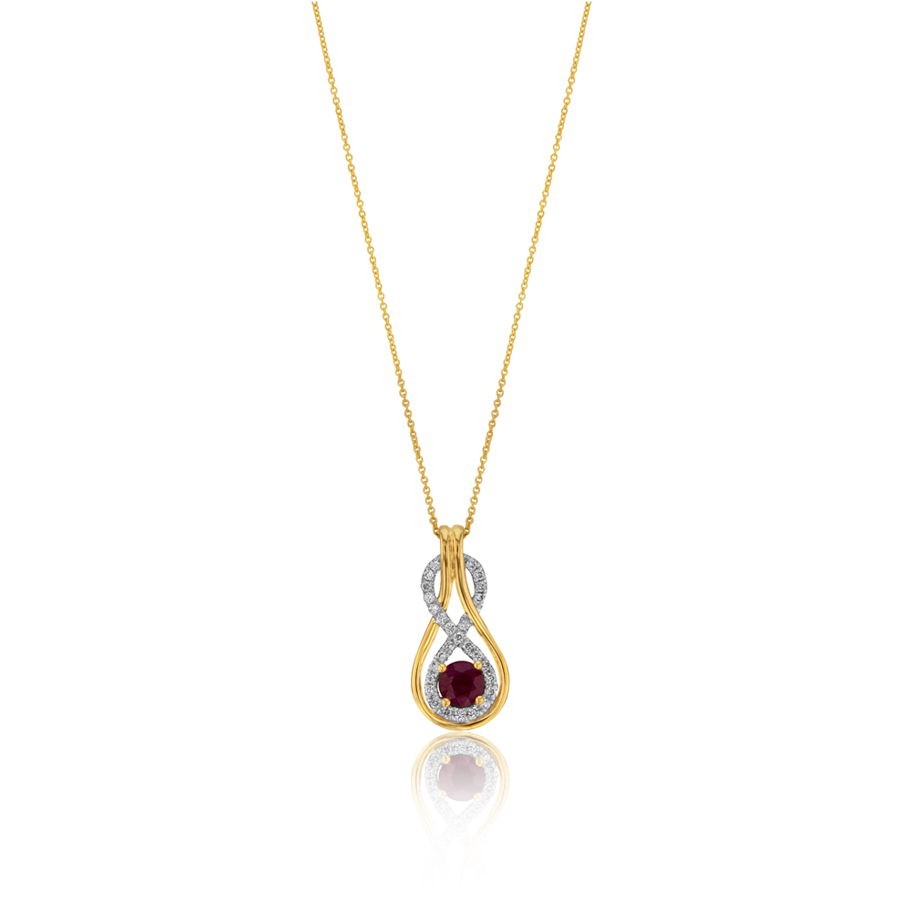 9ct Yellow Gold Natural Ruby 5mm and Diamond 0.22ct Infinity Pendant with 45cm Chain