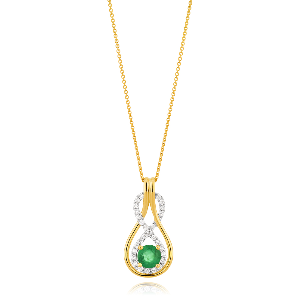 9ct Yellow Gold Natural Emerald 5mm + Diamond 0.22ct Infinity Pendant + 45cm Chain