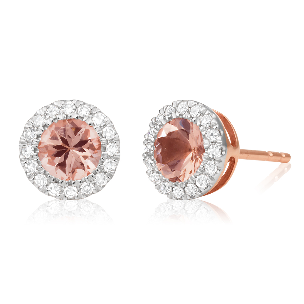 9ct Rose Gold Morganite 5mm and Diamond 0.15ct Stud Earrings