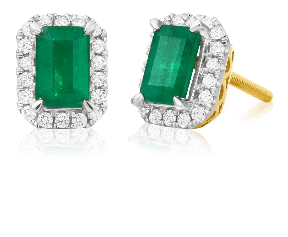 9ct Yellow Gold Natural Emerald 6x4mm and 1/5 Carat Diamond Stud Earrings
