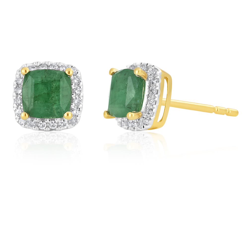 9ct Yellow Gold Natural Emerald 5mm Cushion Cut Diamond Halo Stud Earrings