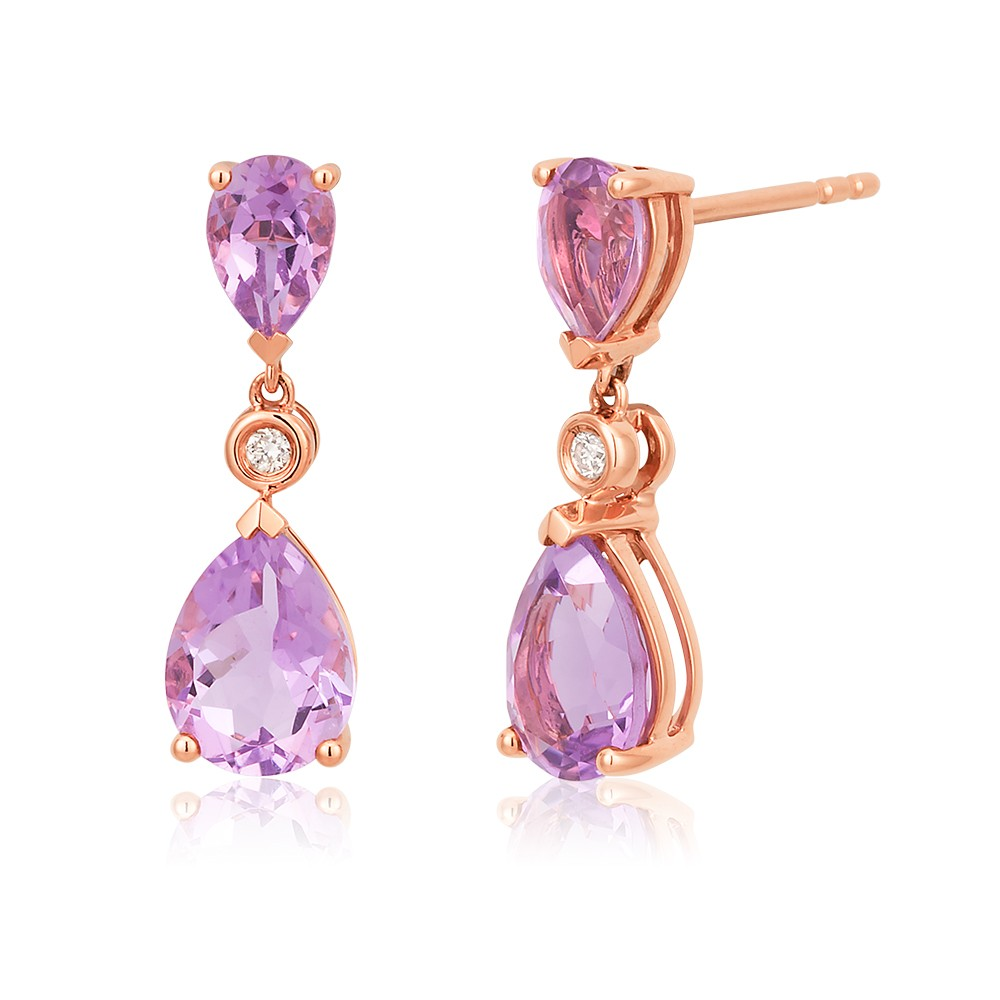 9ct Rose Gold Rose Amethyst and Diamond Drop Earrings
