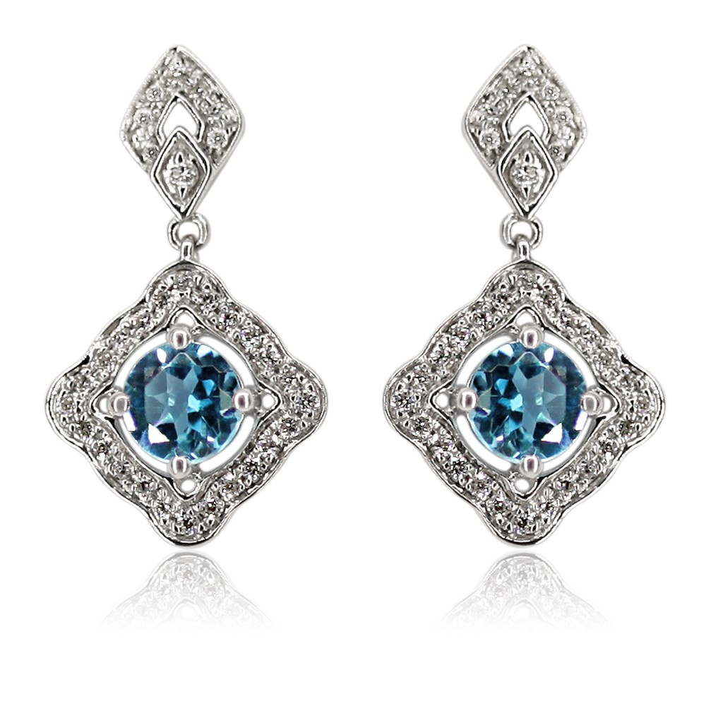 9ct White Gold Blue Topaz 5mm and Diamond 0.25ct Drop Earrings