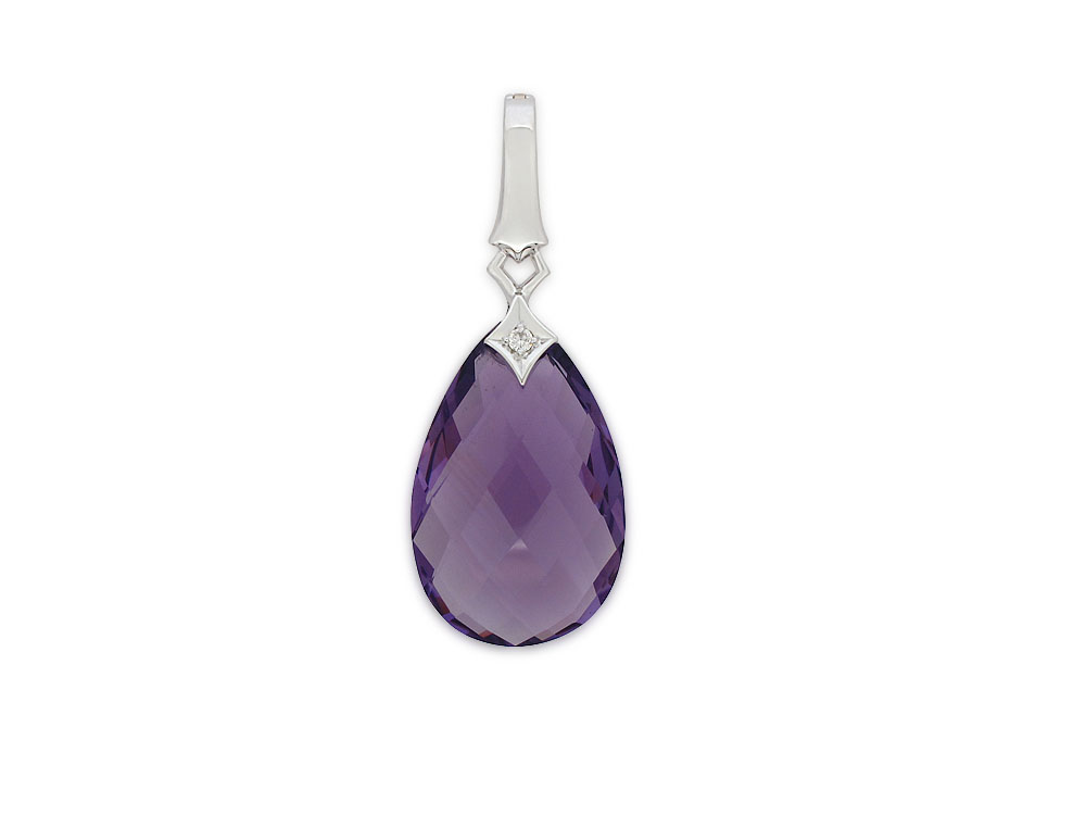 18ct White Gold Faceted Amethyst and Diamond Pendant with 45cm Chain