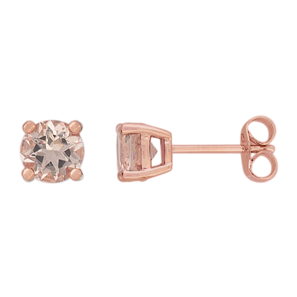 9ct Rose Gold 5mm Morganite Stud Earrings
