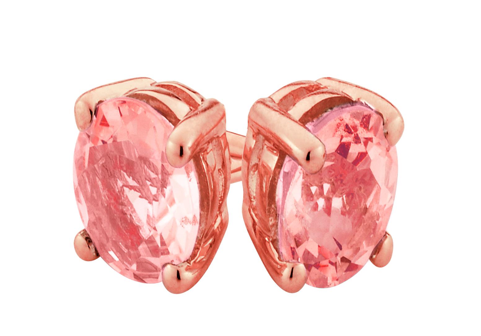 9ct Rose Gold Oval 6MM x 4MM Morganite Stud Earrings