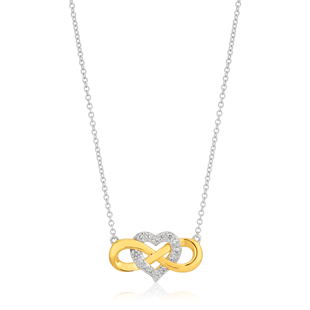 9ct Yellow Gold Heart & Infinity Pendant on Chain
