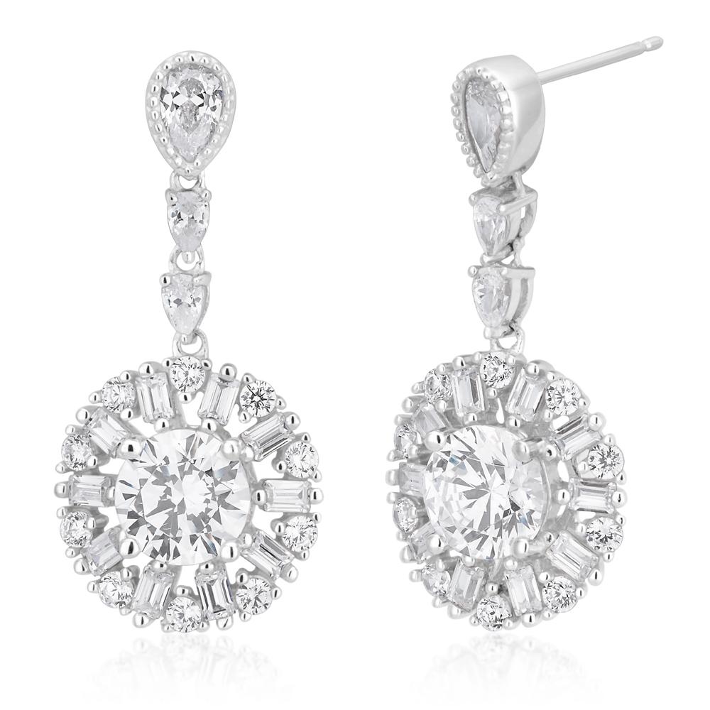 9ct White Gold Zirconia Round Drop Earrings