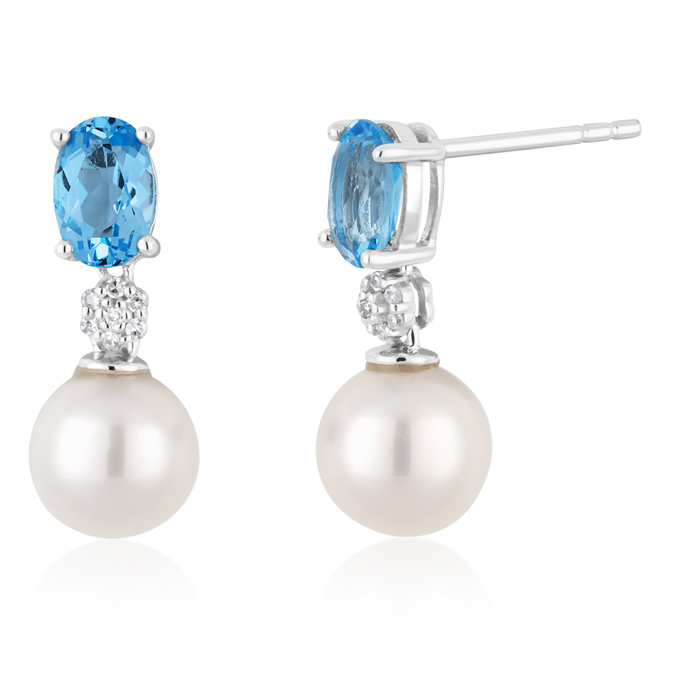 9ct White Gold Pearl & Blue Topaz Earrings with Diamonds