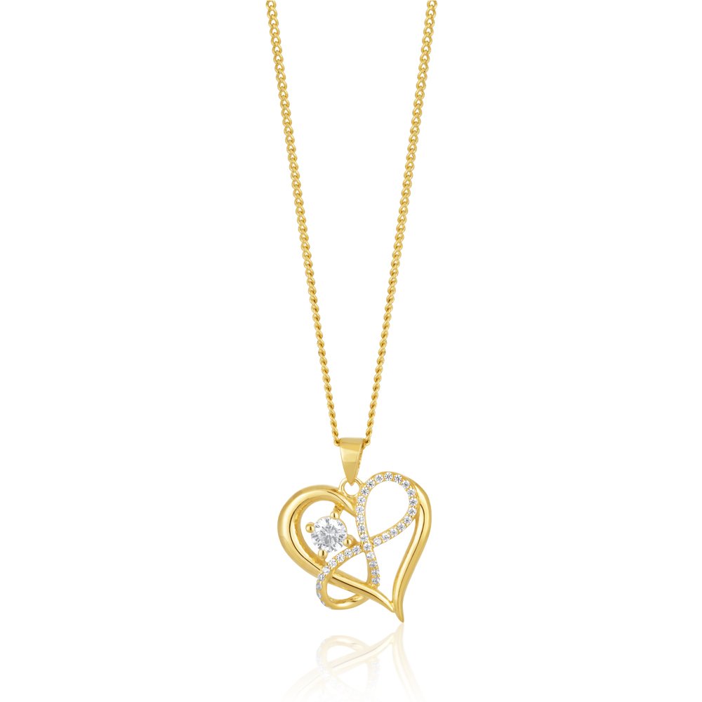 9ct Yellow Gold Zirconia Infinity & Heart Pendant