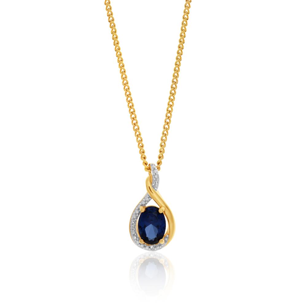 9ct Yellow Gold Created Sapphire & Diamond Pendant