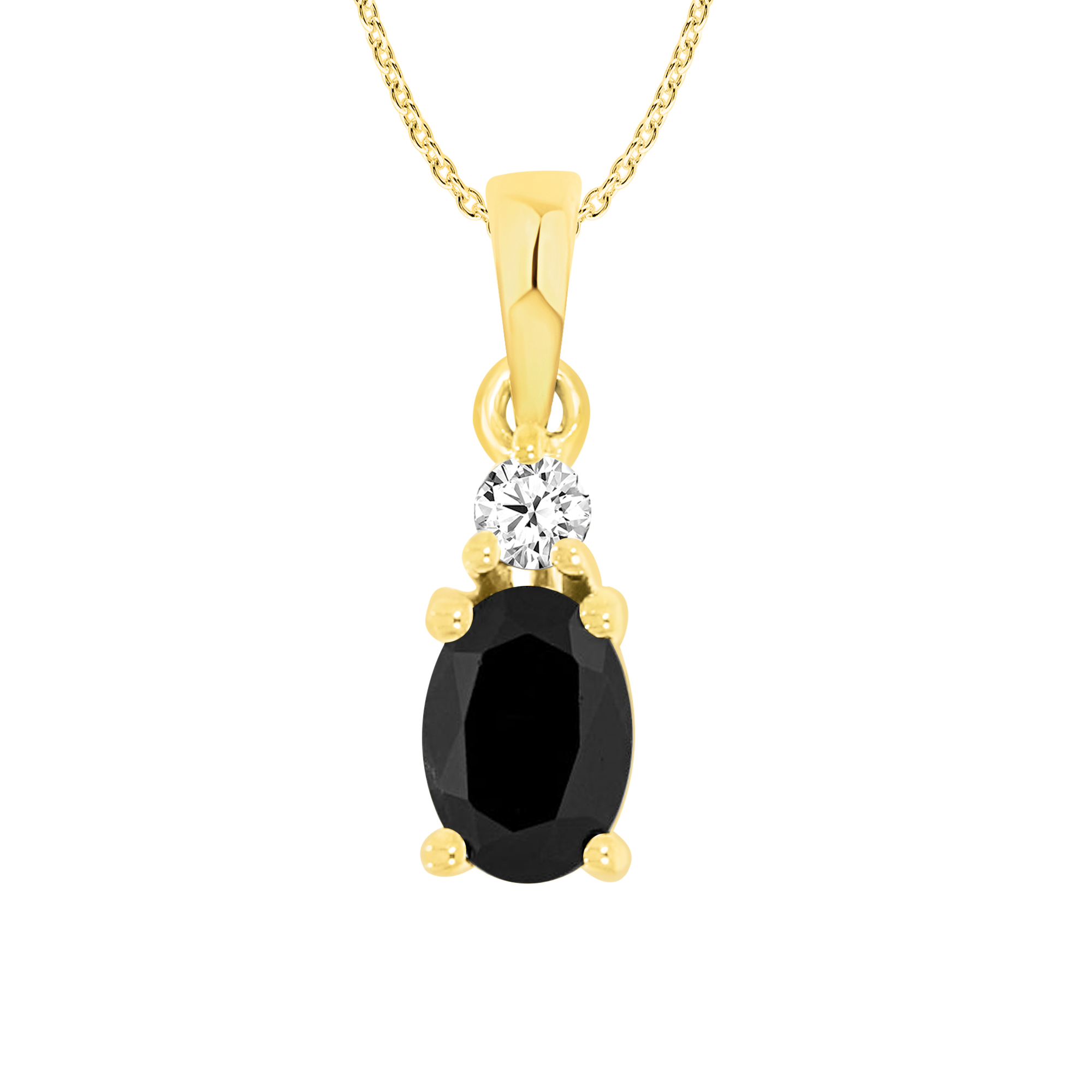 9ct Yellow Gold Natural Sapphire & Diamond Pendant