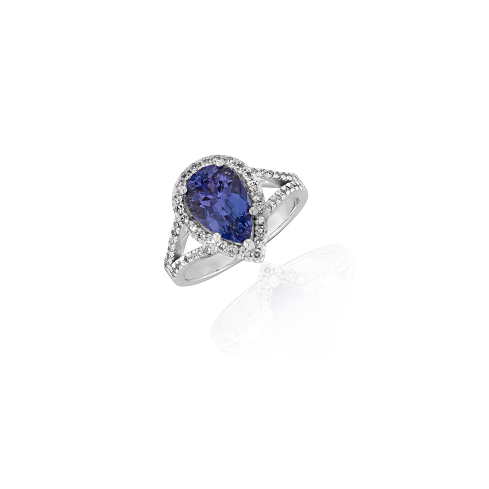 Tanzanite 3ct Pear & 0.40ct Diamond Halo Ring in 18ct White Gold