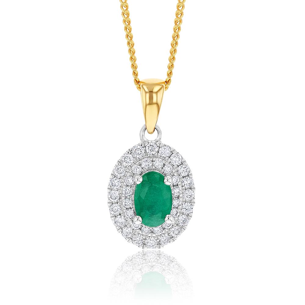 9ct Two Tone Natural Emerald and Diamond Pendant