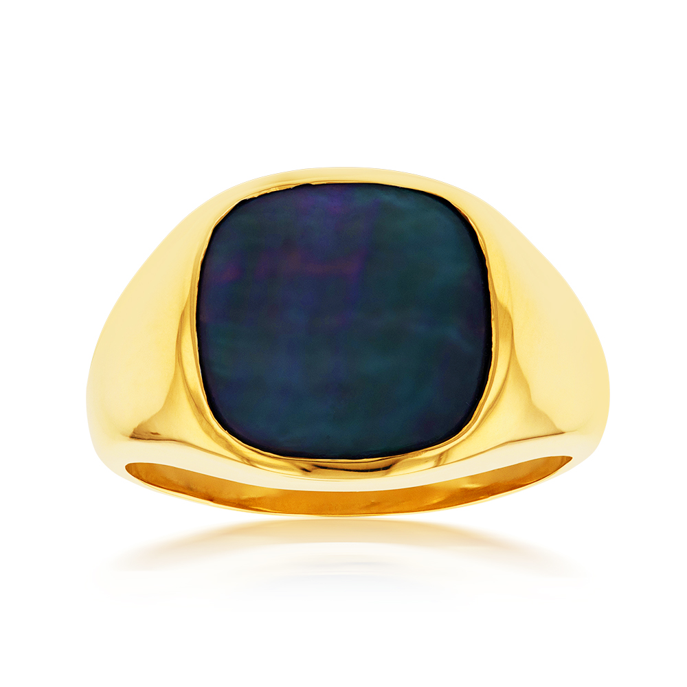 9ct Yellow Gold Black Mother of Pearl Gents Ring