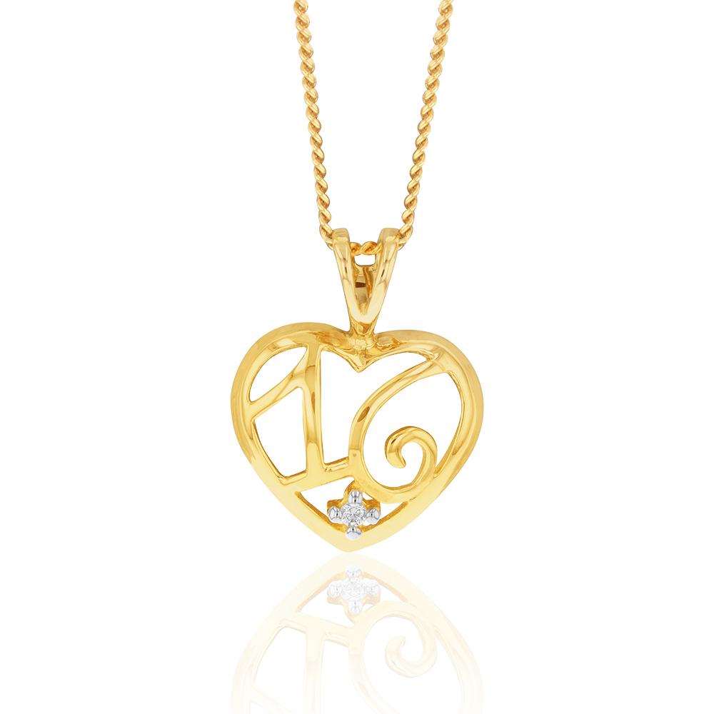 9ct Yellow Gold Zirconia Number 16 Heart Pendant