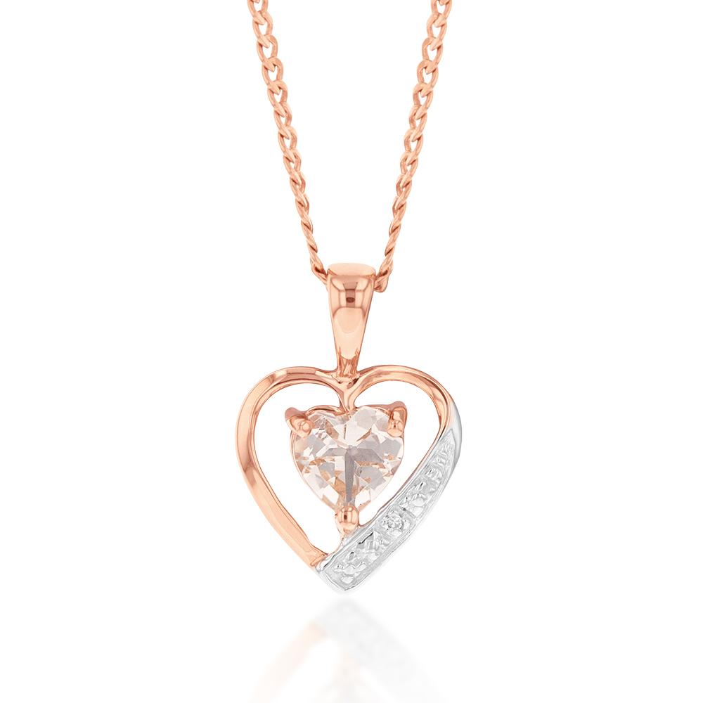 9ct Rose Gold Morganite and Diamond Heart Pendant