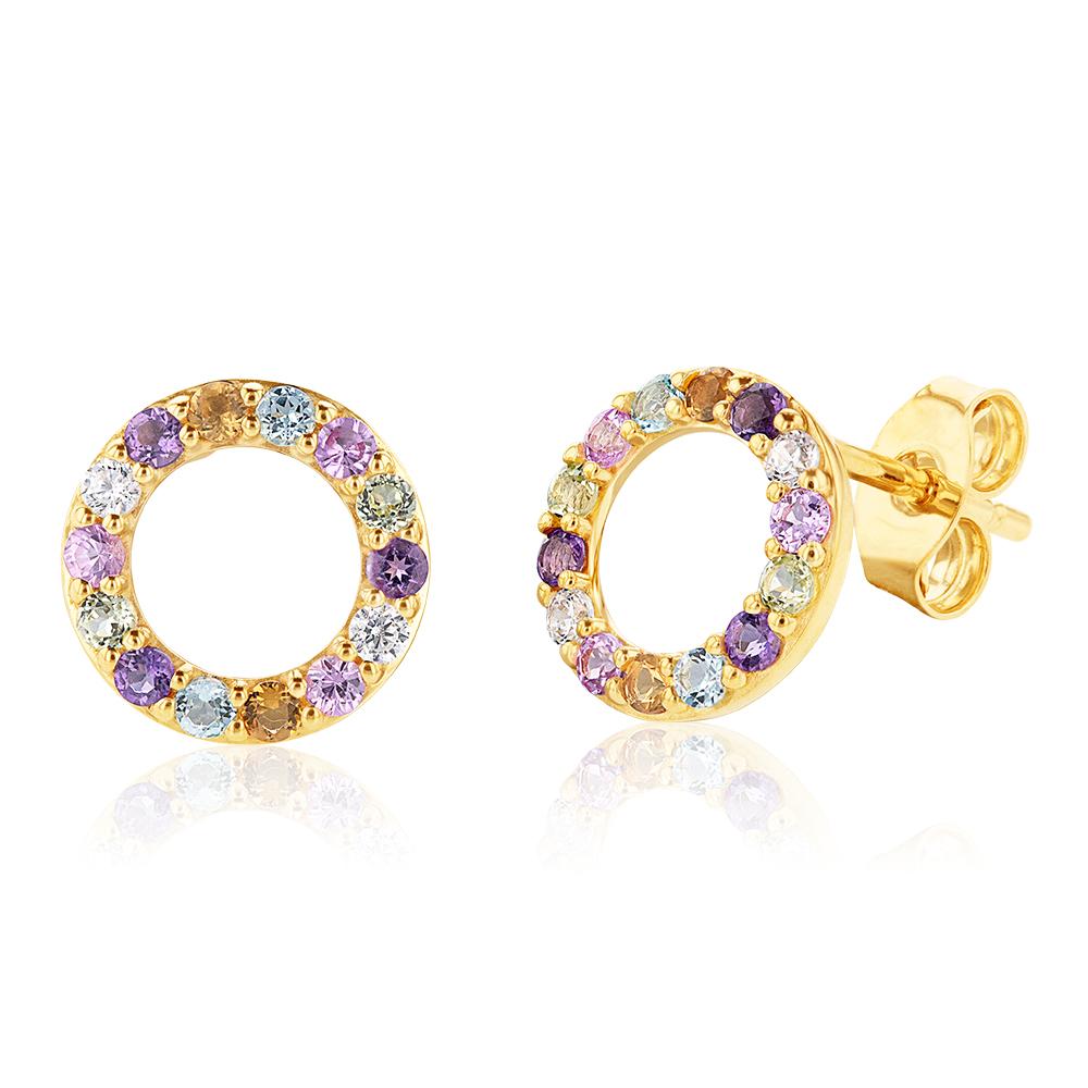 9ct Yellow Gold Rainbow Gemstone Studs