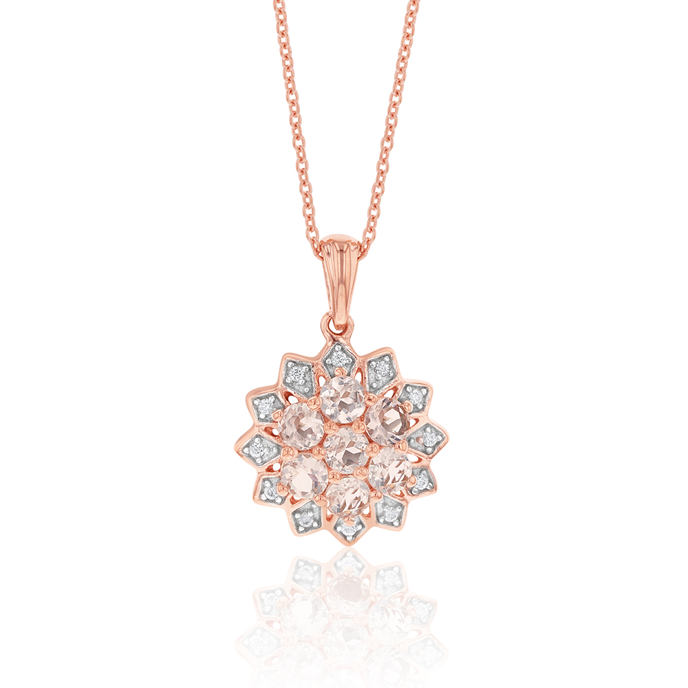 Rose Plated Sterling Silver Morganite and White Zircon Starburst Pendant on Chain