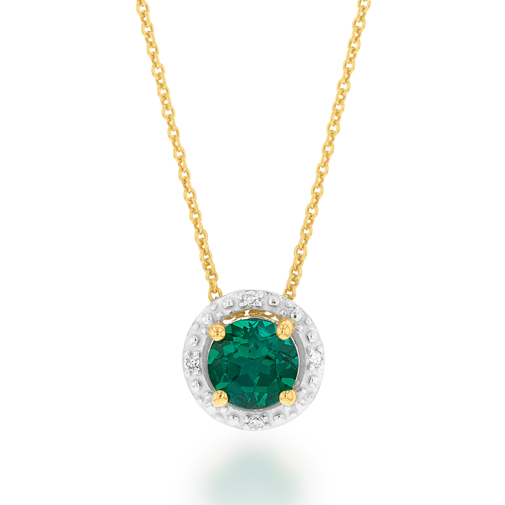 9ct Yellow Gold 5mm Created Emerald and Diamond Halo Pendant on 45cm Chain