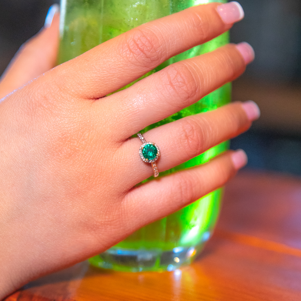 9ct Yellow Gold 6mm Created Emerald and Diamond Halo Ring