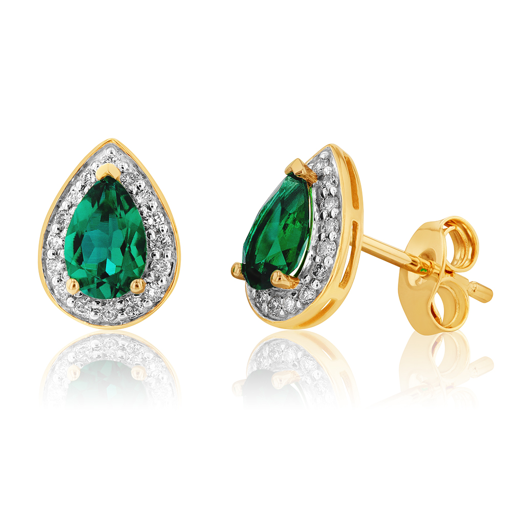 9ct Yellow Gold 6x4mm Created Emerald and Diamond Pear Halo Stud Earrings