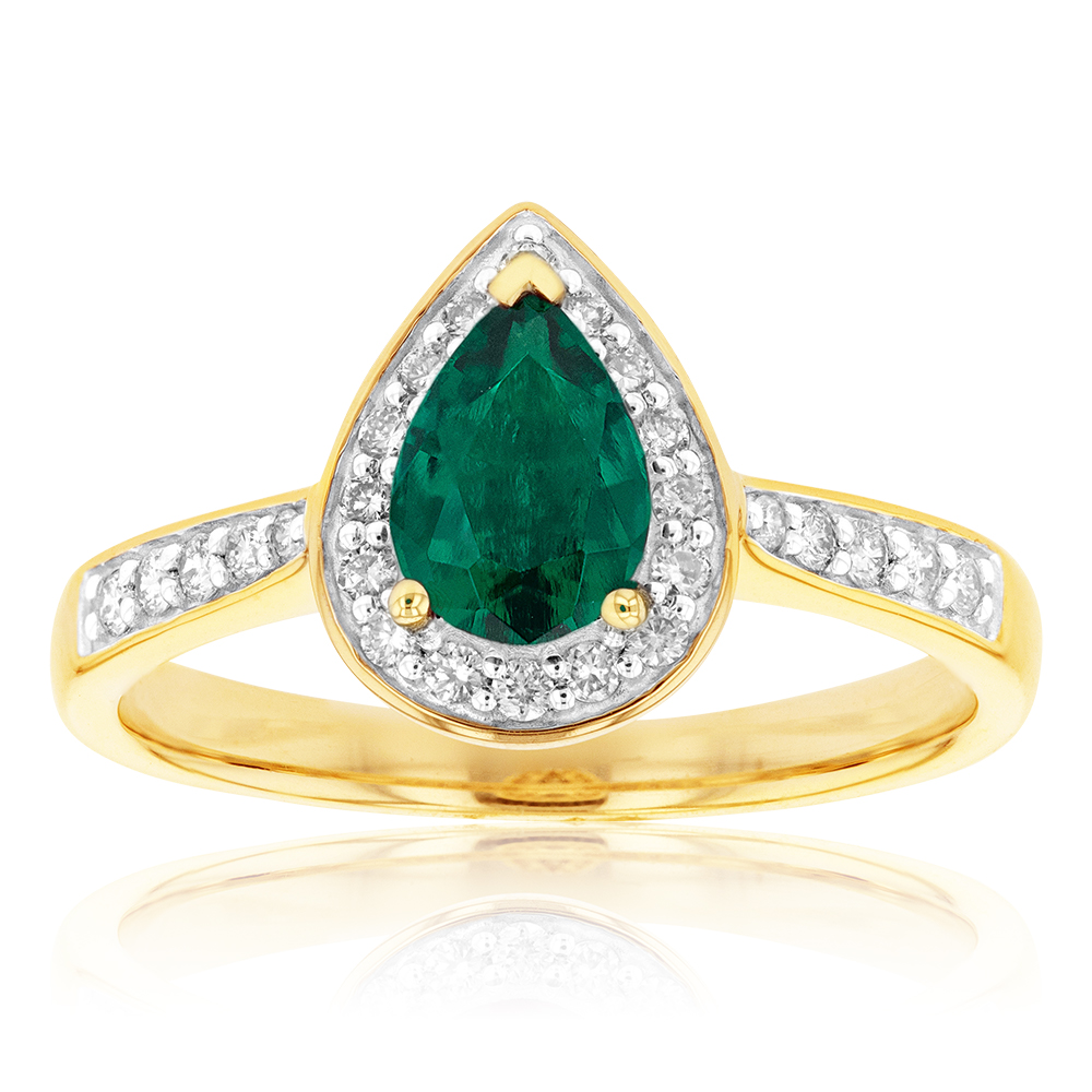 9ct Yellow Gold Created Emerald and Diamond Pear Halo Ring