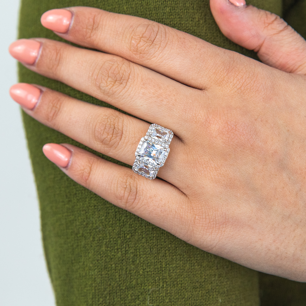 9ct Yellow Gold Emerald Cut Trilogy Halo Ring