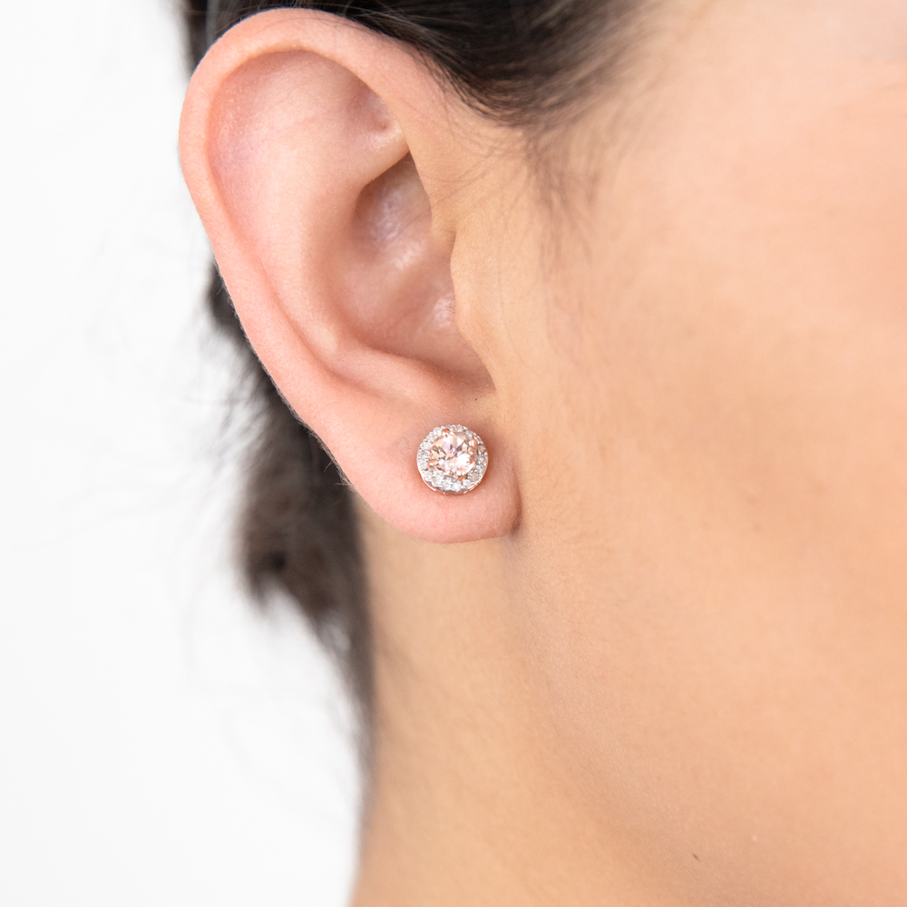 9ct Rose Gold 5mm Morganite and Diamond Round Stud Earrings