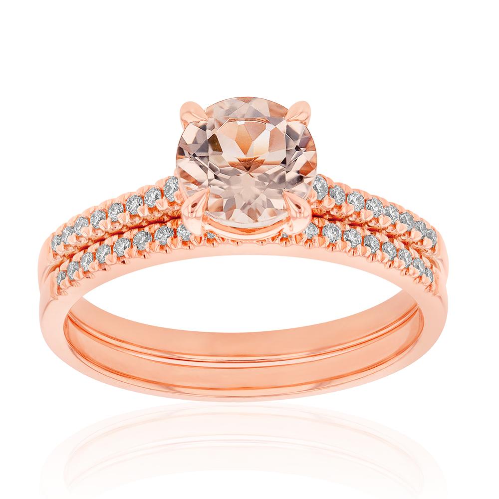 9ct Rose Gold 1.20ct Morganite Round and Diamond 2 Ring Bridal Set