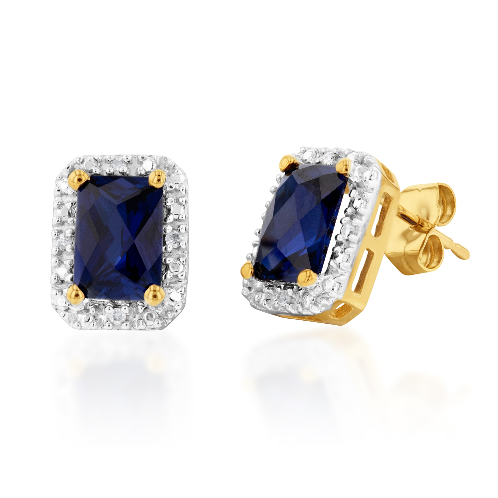 9ct Yellow Gold Created Sapphire and Diamond Stud Earrings