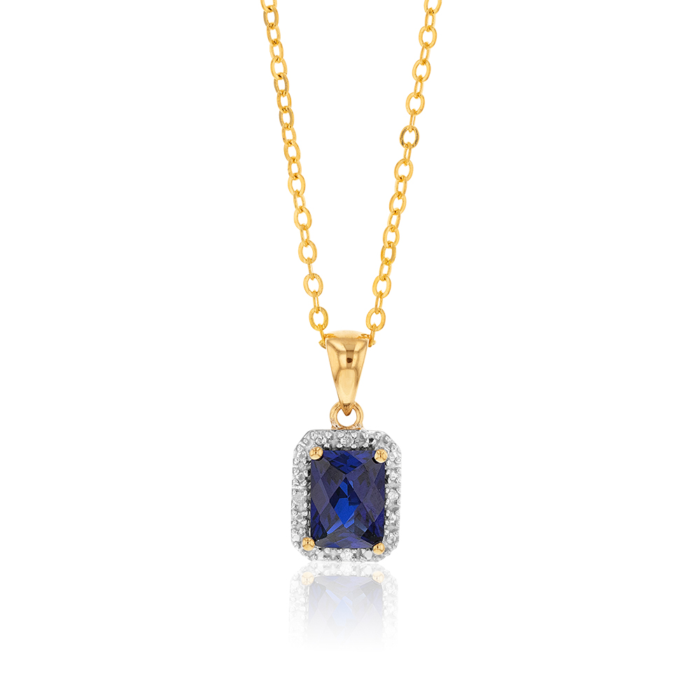 9ct Yellow Gold Created Sapphire and Diamond Pendant 46cm Gold Plated Chain