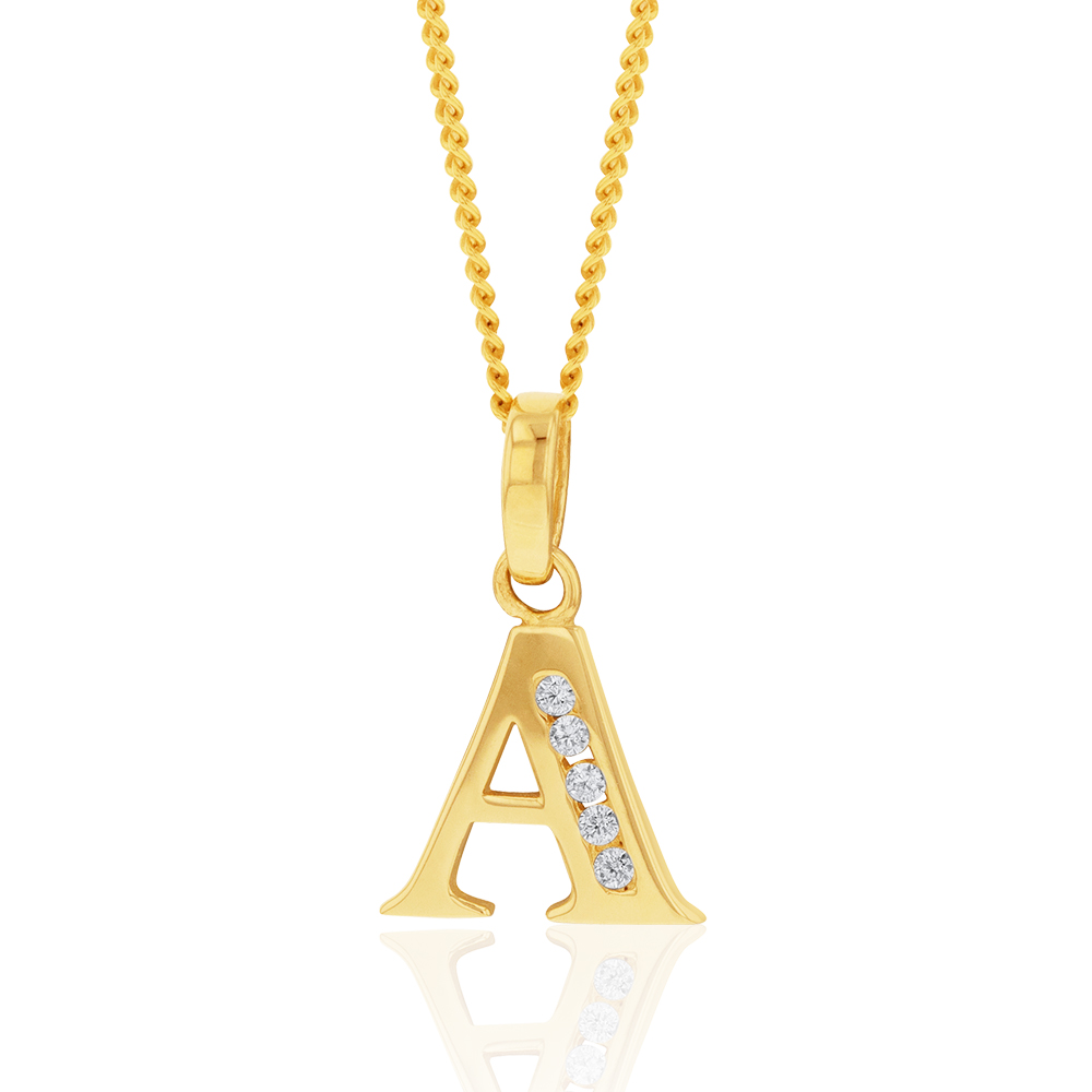 9ct Yellow Gold Initial A Zirconia Pendant