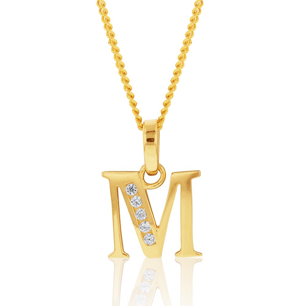 9ct Yellow Gold Initial M Zirconia Pendant