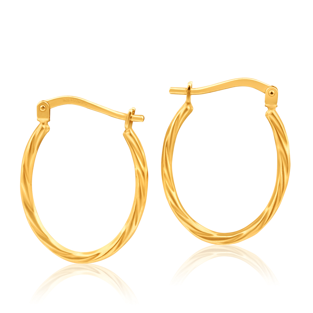 9ct Yellow Gold Silver Filled Oval Twist Hoop Earrings