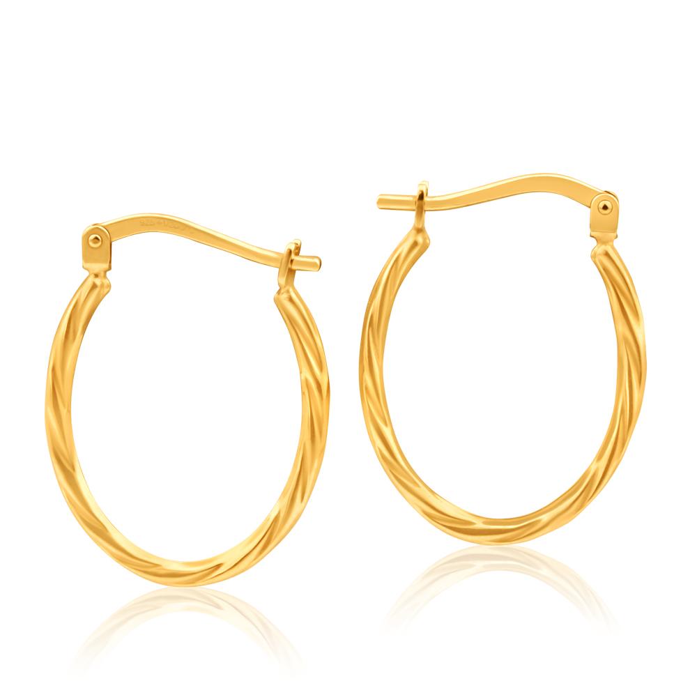 9ct Yellow Gold Silver Filled Oval Twist Hoop Earrings