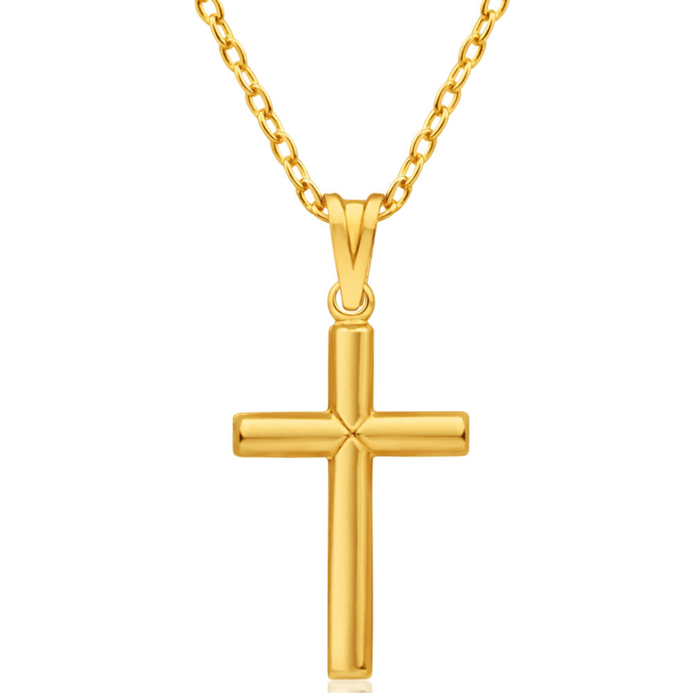 9ct Yellow Gold Silver Filled Plain Cross Pendant