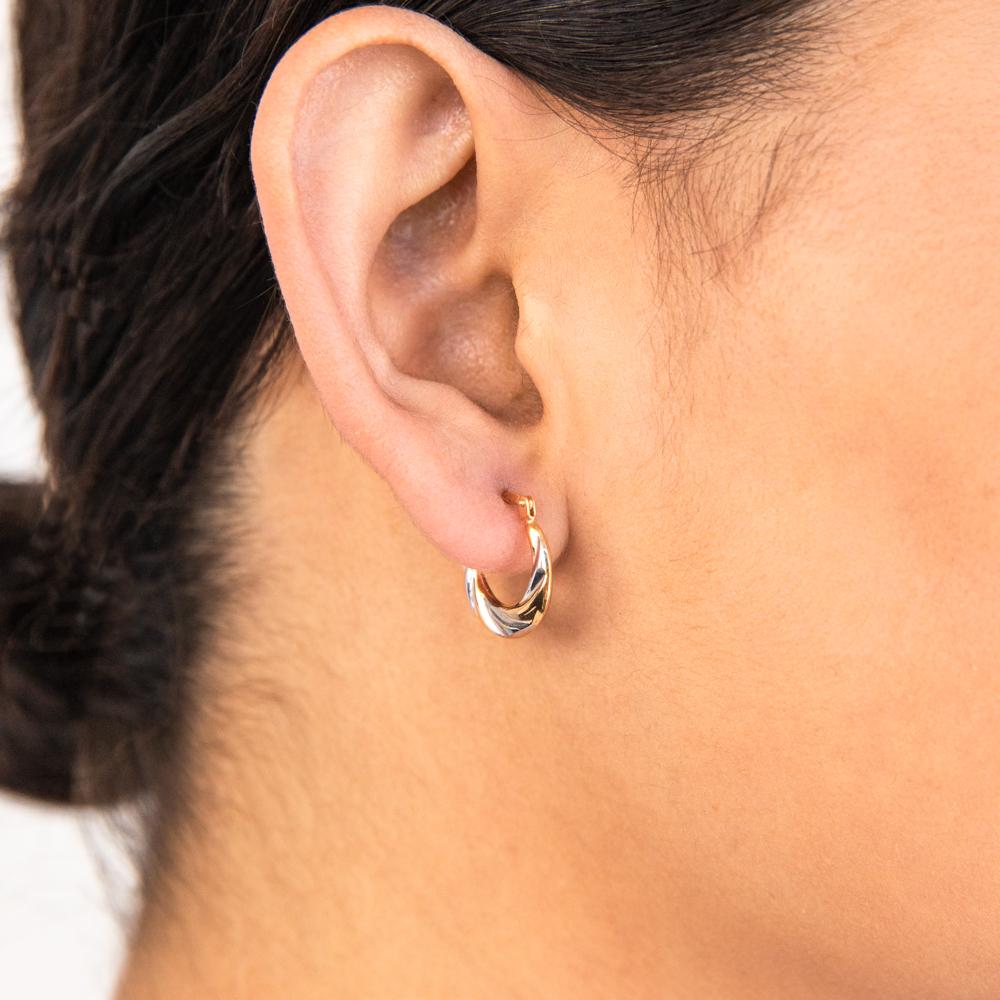 9ct Yellow Gold Silver Filled Two Tone Twist Hoop Earrings